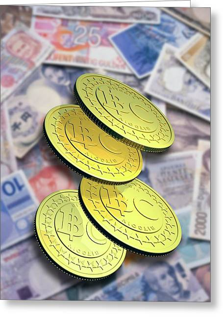 Bitcoins And Banknotes Greeting Card