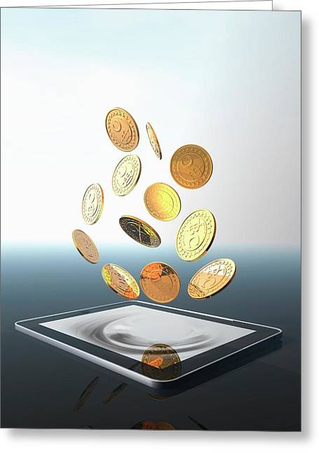 Bitcoins And Digital Tablet Greeting Card by Victor Habbick Visions