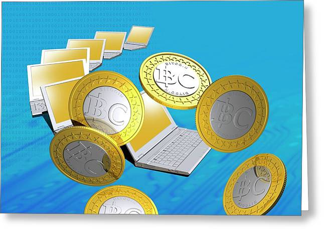 Bitcoins And Laptops Greeting Card by Victor Habbick Visions