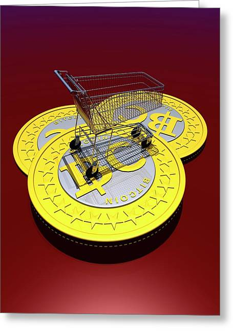 Bitcoins And Shopping Trolley Greeting Card by Victor Habbick Visions
