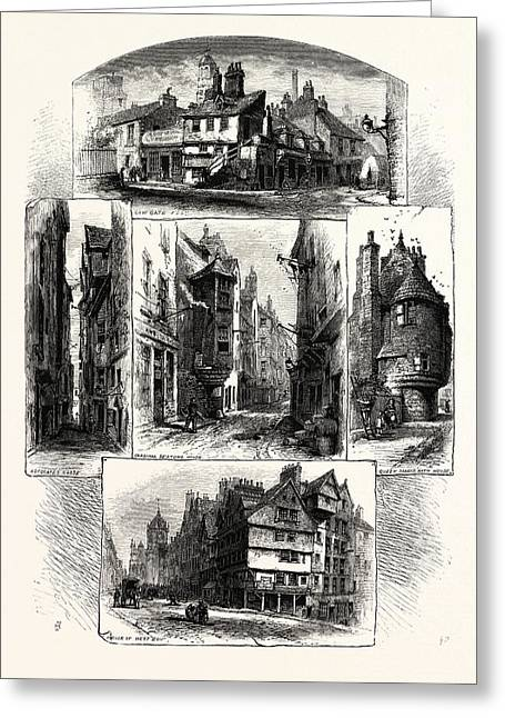 Bits In Old Edinburgh Advocates Close, Corner Of West Bow Greeting Card by English School