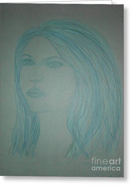 Biviana In Blue Greeting Card by James Eye