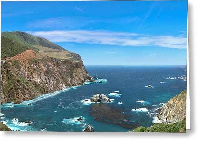 Bixby Bridge Biig Sur Cgi Panorama Greeting Card by David Zanzinger