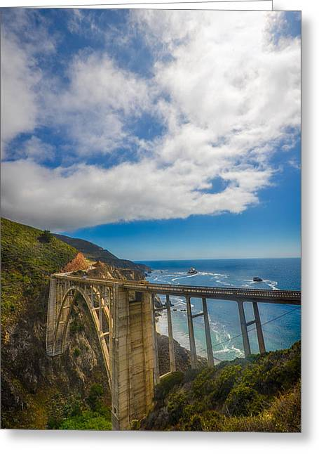 Bixby Bridge With Clouds In Big Sur California Greeting Card by Lynn Langmade
