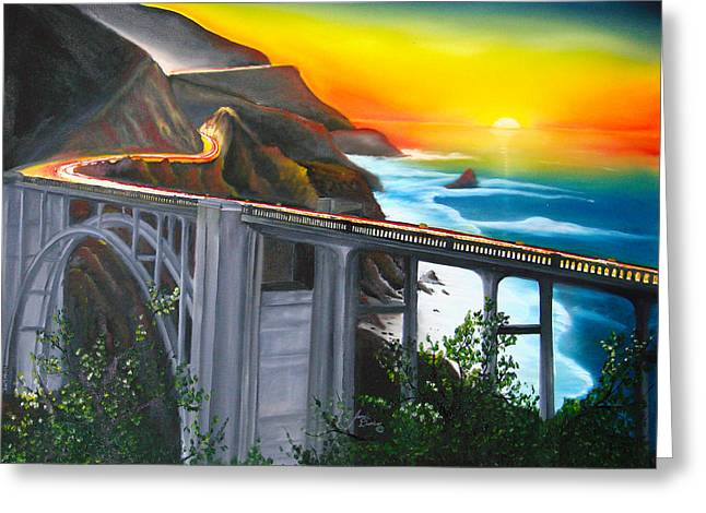 Bixby Coastal Bridge Of California At Sunset Greeting Card by Portland Art Creations