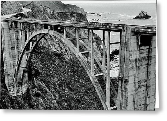 Bixby Creek Bridge Black And White Greeting Card