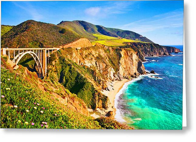 Bixby Creek Bridge Oil On Canvas Greeting Card by Don Kuing