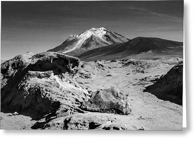Bizarre Landscape Bolivia Black And White Greeting Card by For Ninety One Days