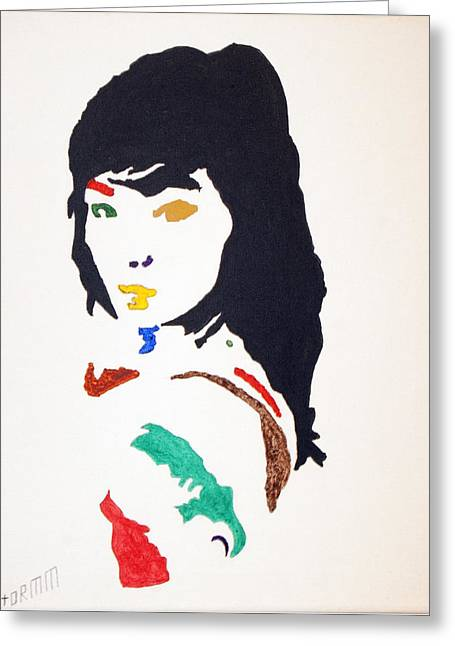 Greeting Card featuring the painting Bjork by Stormm Bradshaw