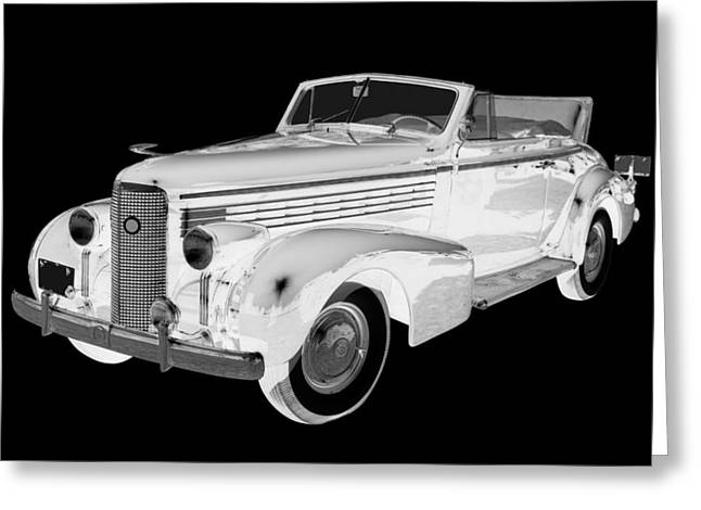 Black An White 1938 Cadillac Lasalle Pop Art Greeting Card by Keith Webber Jr