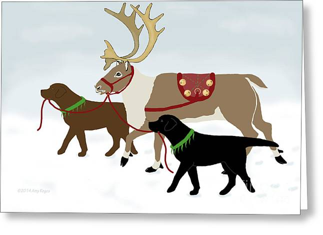Black And Chocolate Labs Lead Reindeer Greeting Card