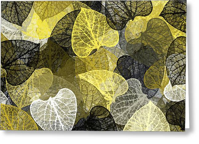 Black And Gold Leaf Pattern Greeting Card