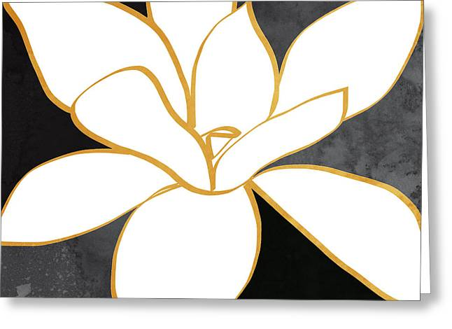 Black And Gold Magnolia- Floral Art Greeting Card by Linda Woods
