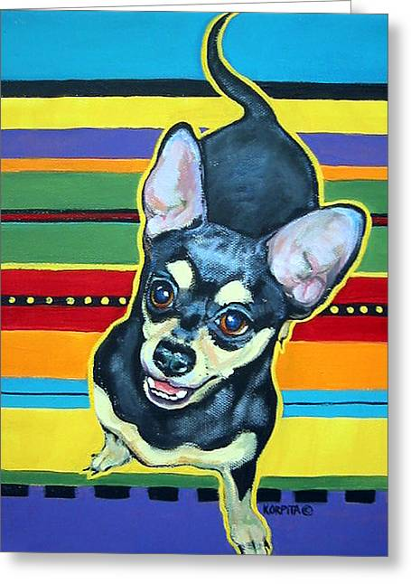 Black And Tan Chihuahua - Serape Greeting Card by Rebecca Korpita