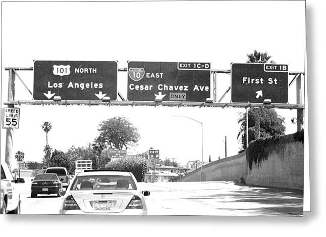 Greeting Card featuring the photograph Black And White Abstract City Photography...l.a. Freeway by Amy Giacomelli