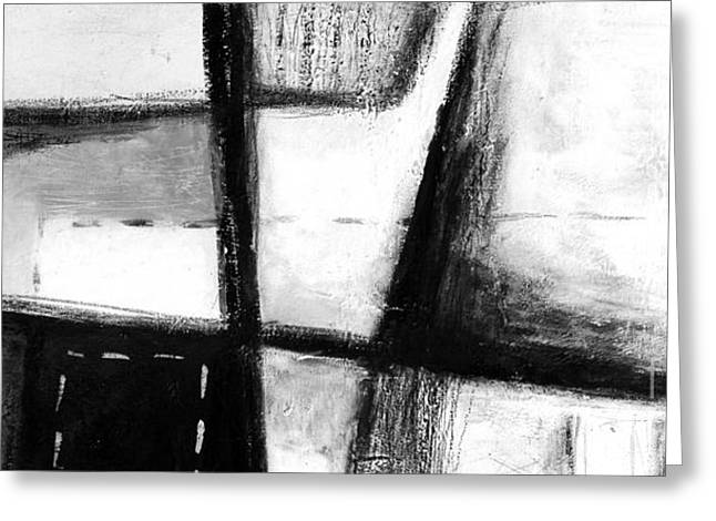 Black And White Abstract Contemporary Minimal Art By Laura Gomez - Large Panoramic Format Greeting Card by Laura  Gomez