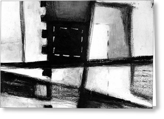 Black And White Abstract Contemporary Minimal Art By Laura Gomez -square Format  Greeting Card by Laura  Gomez