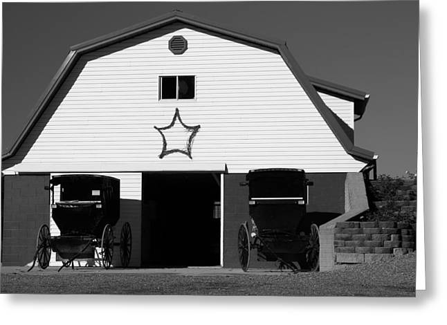 Black And White Amish Buggies And Barn Greeting Card by Dan Sproul
