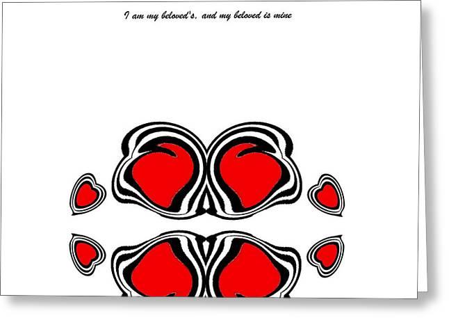 Hearts Black Whitered Art No.135. Greeting Card