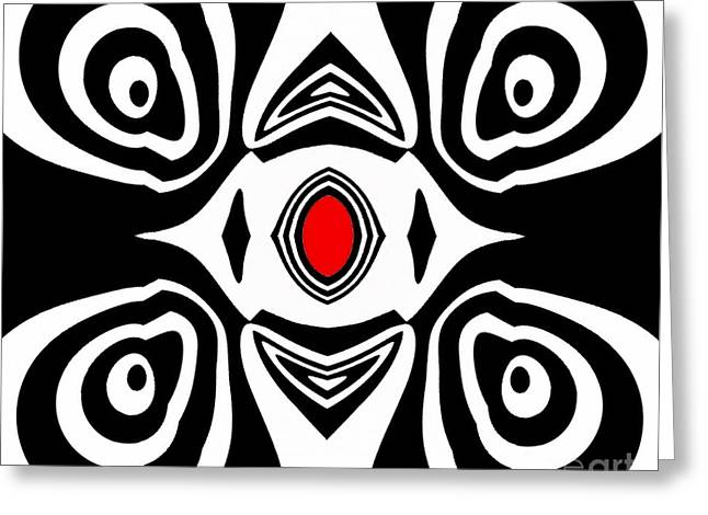 Abstract Black White Red Art No.213 Greeting Card by Drinka Mercep