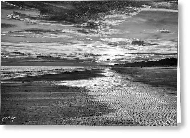 Black And White Beach Greeting Card by Phill Doherty