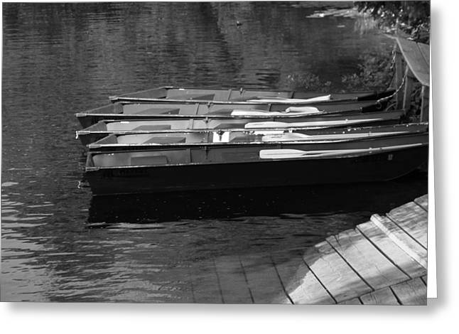 Black And White Boats On Water Greeting Card by Dan Sproul