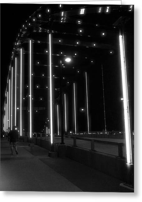 Black And White Bridge At Night Greeting Card by Dan Sproul