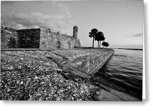 Black And White Castillo De San Marcos View 3 Greeting Card
