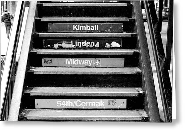 Black And White Chicago L Stairs Greeting Card