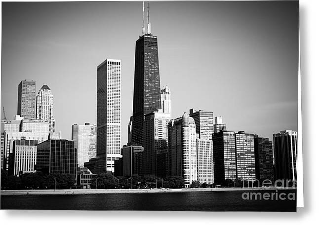 Black And White Chicago Skyline With Hancock Building Greeting Card by Paul Velgos