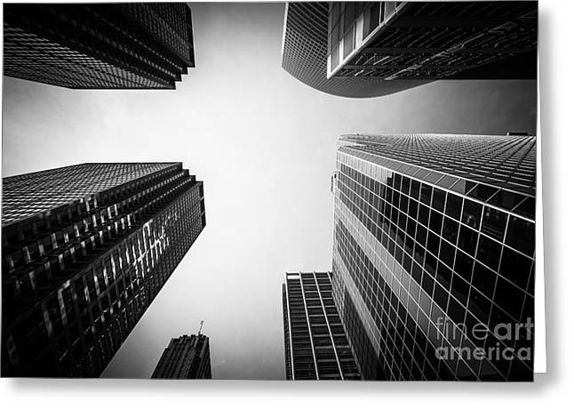 Black And White Chicago Skyscraper Buildings Greeting Card by Paul Velgos