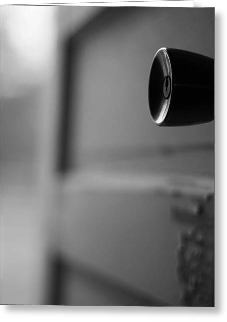 Black And White Door Handle Greeting Card by Dan Sproul
