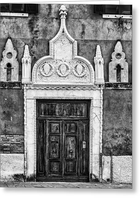 Black And White Door In Venice Greeting Card