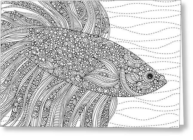 Black And White Fish Greeting Card