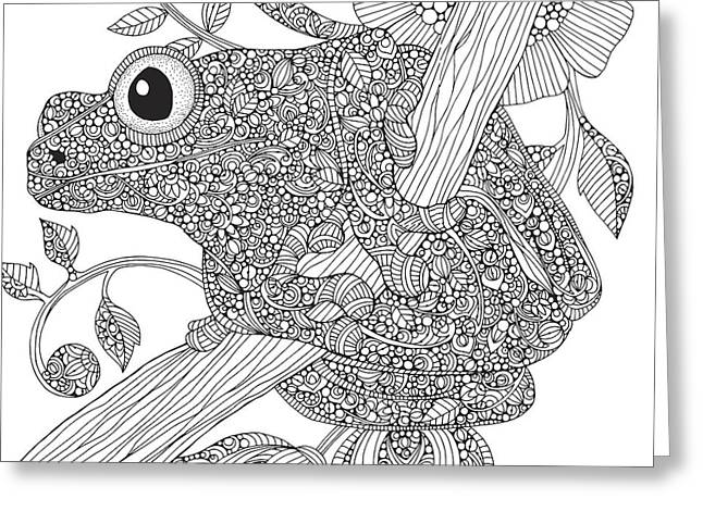 Black And White Frog Greeting Card