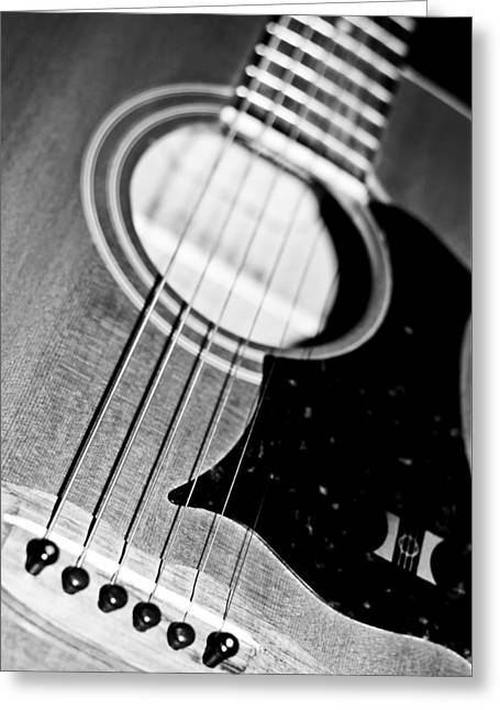 Black And White Harmony Guitar Greeting Card