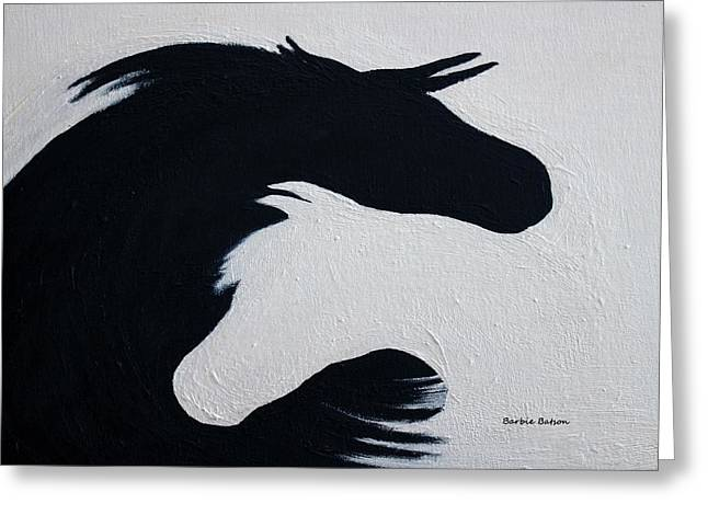 Black And White Horses Together Forever Greeting Card by Barbie Batson