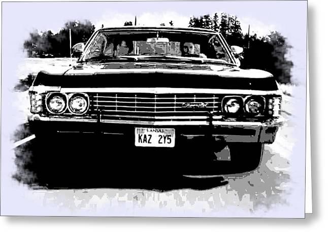 Black And White Impala - Supernatural Greeting Card
