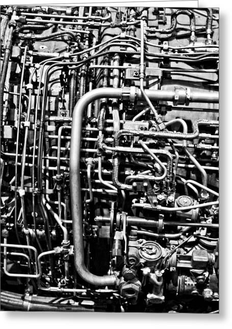 Black And White Jet Engine Greeting Card by Dan Sproul