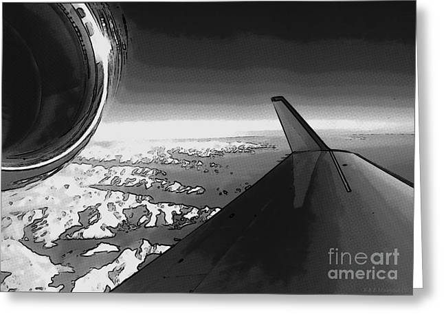Greeting Card featuring the photograph Jet Pop Art Plane Black And White  by R Muirhead Art