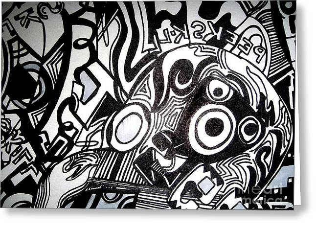 Black And White Line Drawing Greeting Card by Isis Kenney