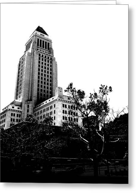 Greeting Card featuring the photograph Black And White Los Angeles Abstract City Photography...la City Hall by Amy Giacomelli