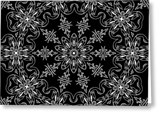 Black And White Medallion 11 Greeting Card by Angelina Vick