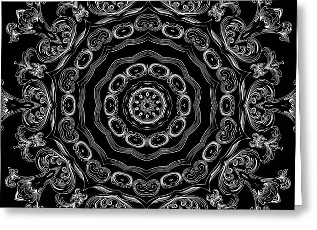 Black And White Medallion 2 Greeting Card by Angelina Vick