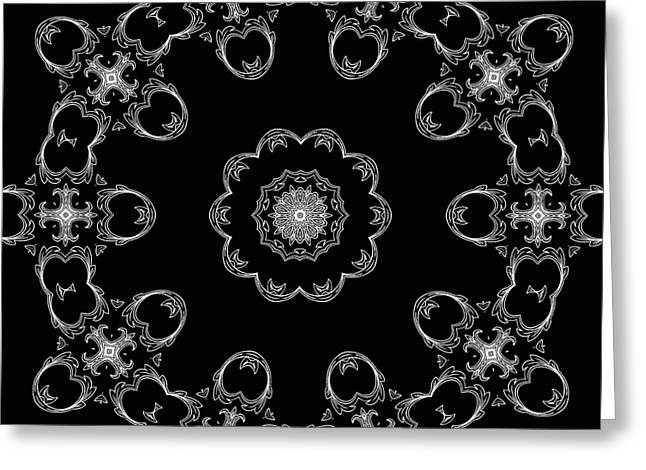 Black And White Medallion 3 Greeting Card by Angelina Vick