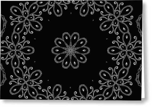 Black And White Medallion 4 Greeting Card by Angelina Vick