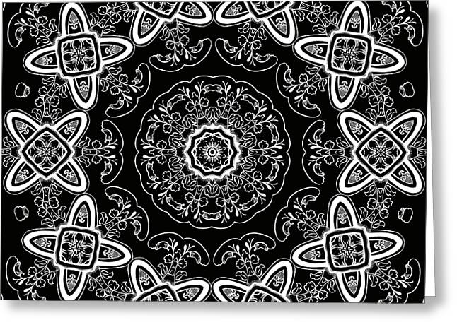 Black And White Medallion 5 Greeting Card by Angelina Vick