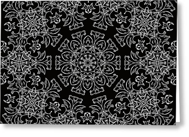 Black And White Medallion 7 Greeting Card