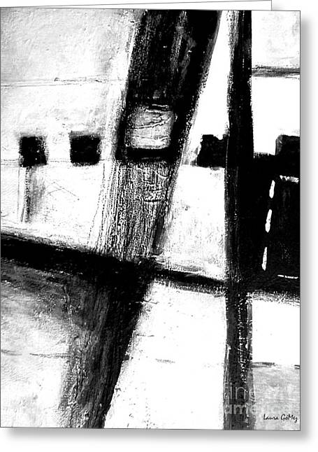 Black And White Minimal Abstract Greeting Card by Laura  Gomez
