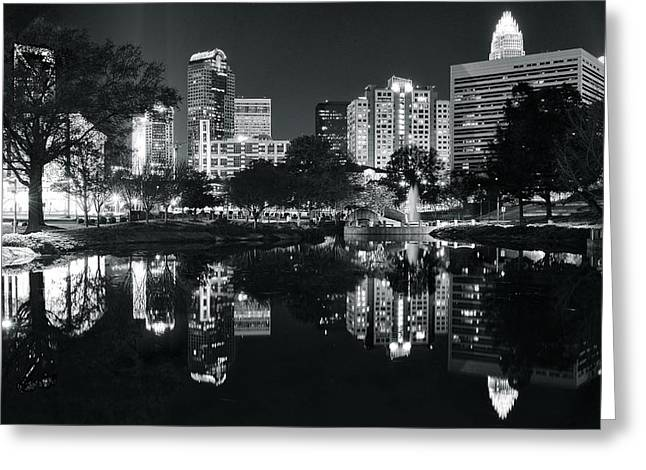 Black And White Night In Charlotte Greeting Card by Frozen in Time Fine Art Photography